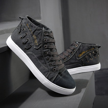 Whoholl Brand Men's High-top Canvas Shoes Men Spring Autumn Top Fashion Sneakers Lace-up High Style Solid Colors Man White Shoes недорого