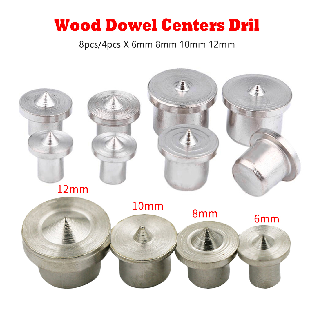 Solid Type 6mm 8mm10mm 12mm 8pcs/4pcs Dowel Pins Center Point Drill Woodworking Dowel Tenon Center Drill For Woodworking