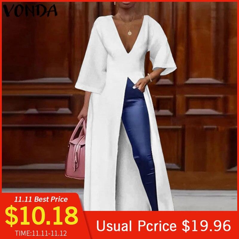 VONDA Women Deep V Neck Split Long Dresses Cocktail Party Sexy Dress Long Shirts Office Blouse Female Holiday Vestido Plus Size