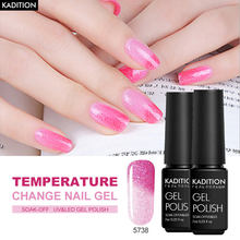 KADITION Gel de uñas de camaleón polaco 7ml temperatura Color brillo cambio Gellack remojo de UV LED térmico Gel arte de esmalte de uñas(China)