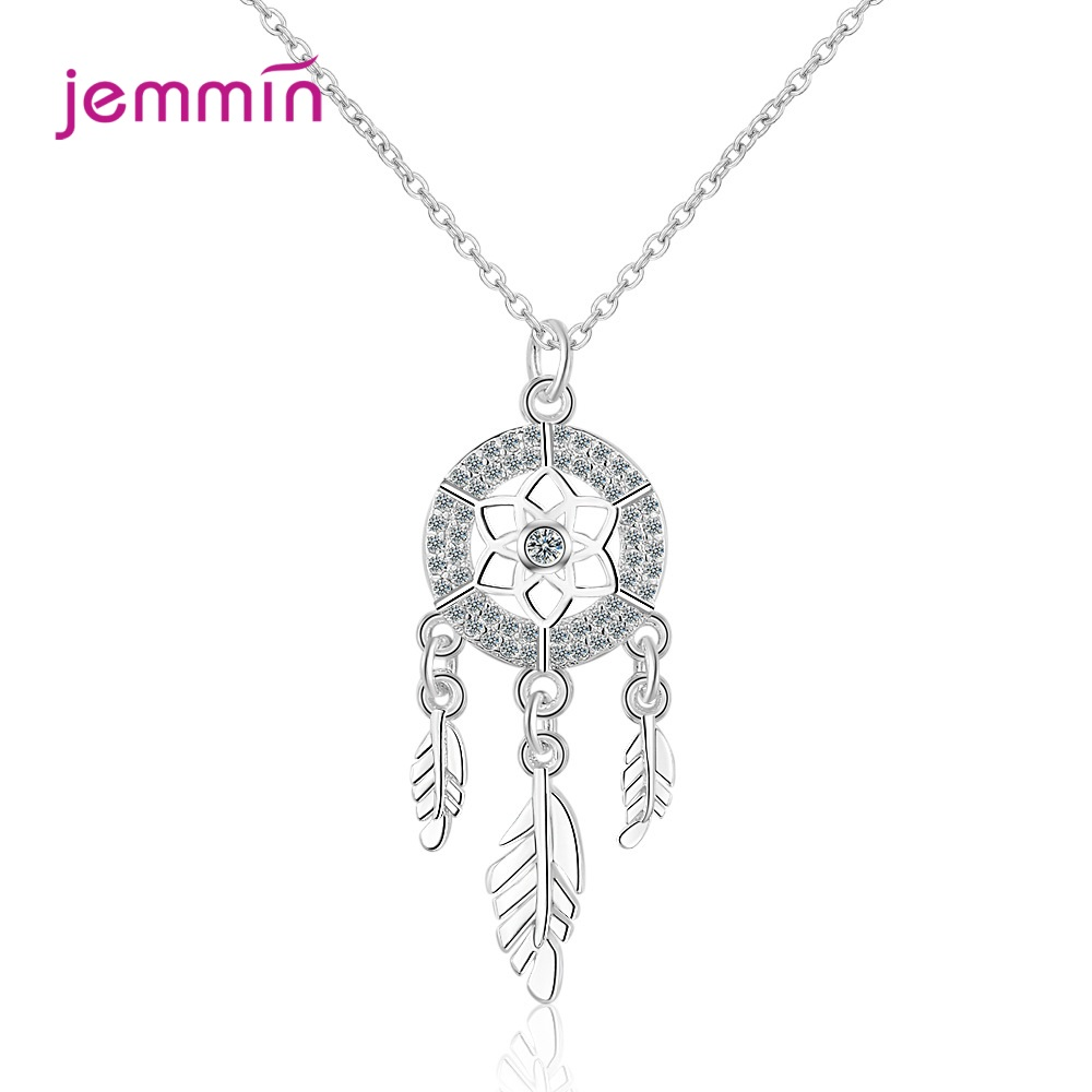 Classic Retro Dreamcatcher Resizable 925 Sterling Sivler Feather Jewelry Pendant Necklace For Women Girls Fashion Accessories
