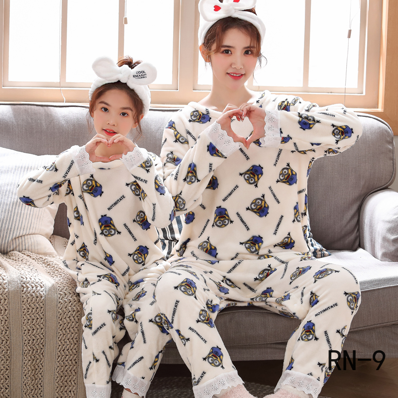 Family Matching Sleepwear Pajamas Lounge Outfits Mom Girls Winter Adult Velvet Coral