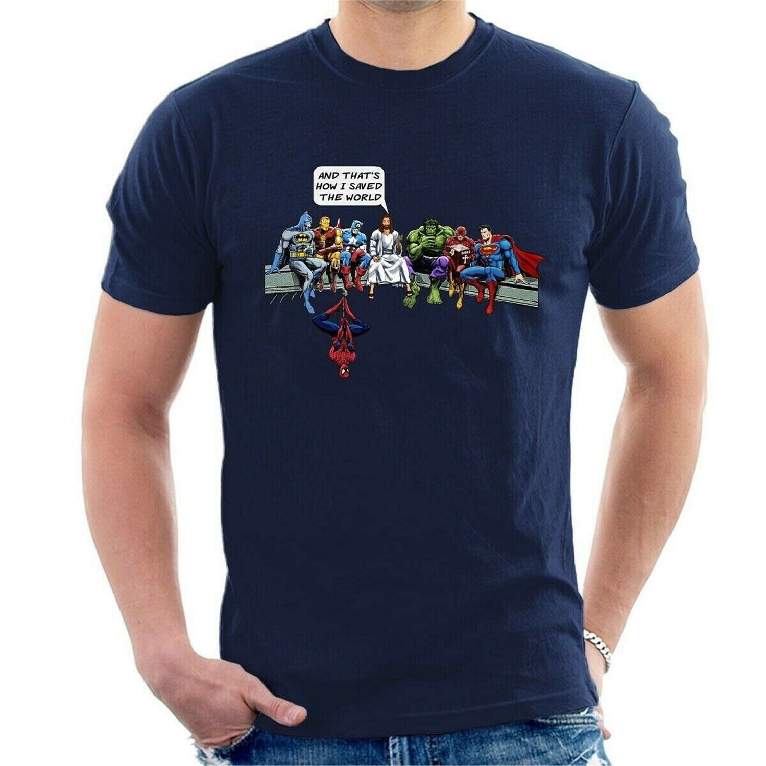 And That/'s How I Saved The World Jesus Avengers Superheroes T-Shirt ALL SIZE B05