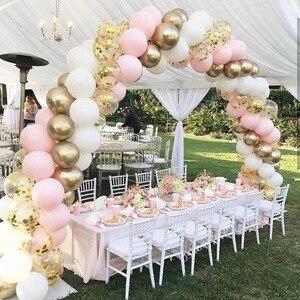 100pcs Macaron Balloons Arch Pastel White Pink Ballon Garland Gold Metal Confetti Globos Wedding Party Decor Baby Shower Ball MZ(China)