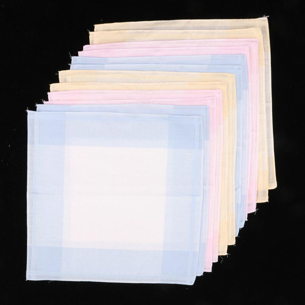 Set Of 12 Plaid Pattern Handkerchief 30 X 30 Cm Women Light Color Pocket Square Hanky Party Suits Hankies