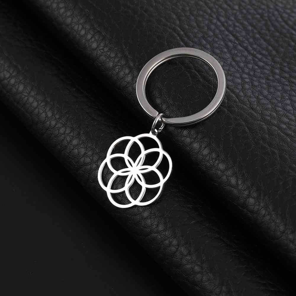 รูปร่างของฉัน Key แหวนดอกไม้ชีวิต 316L สแตนเลสกุญแจจี้เครื่องประดับรอบใหม่ปีของขวัญผู้หญิง Keyholder