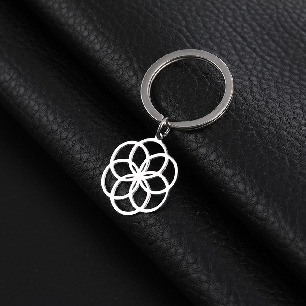 My Shape Key Ring Flower Of Life 316L Stainless Steel Key Chain Circle Pendant Jewelry Round New Year Gift For Women Keyholder
