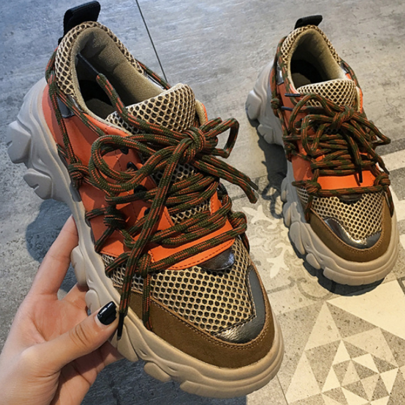 2020 Spring Casual Shoes Woman Platform Sneakers Lace Up Round Toe Women Vulcanize Shoes Ladies Chunky Sneakers 6cm Thick Bottom(China)