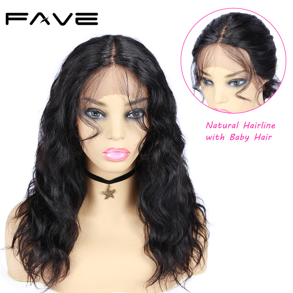 FAVE Human Hair Wigs Natural Wave With Baby Hair Pre Plucked Hairline 150% Density Remy Human Hair Lace Middle Part Wigs