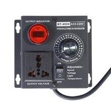 Eu 플러그 ac220v 4kw scr 가변 전압 조광기 라이트 온도 모터 전원 팬 속도 컨트롤러