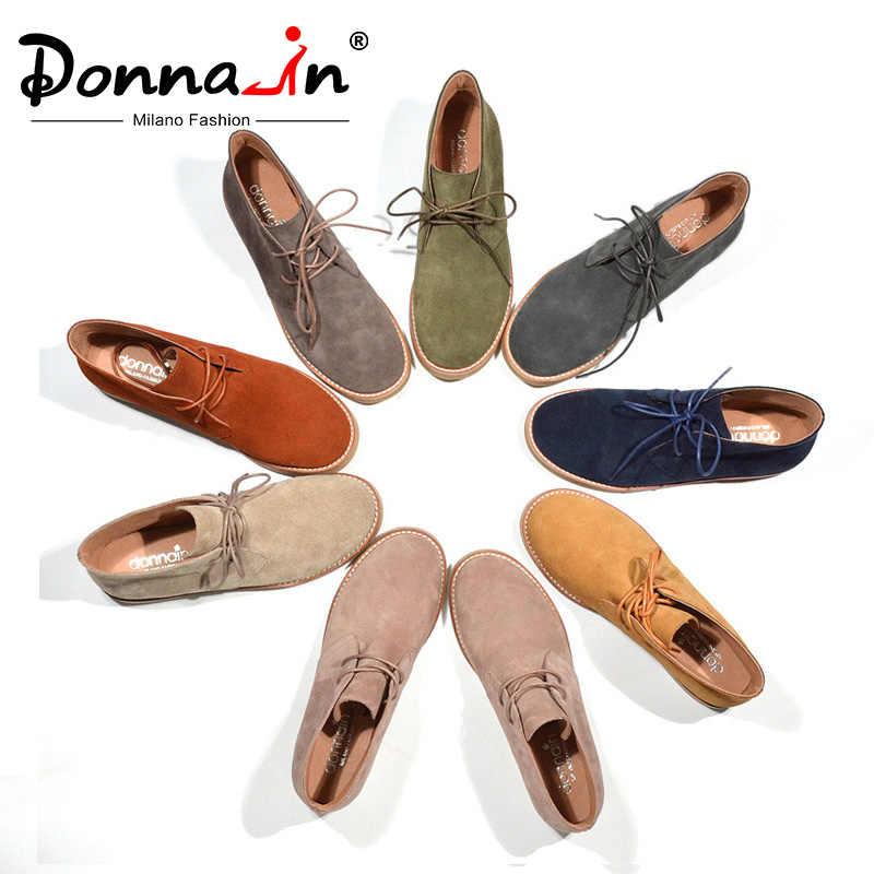 Donna Trong Mắt Cá Chân Giày Cho Nữ Mùa Thu Giày Da Thật Chính Hãng Da Giày Đế Bằng Da Lộn Boot Người Phụ Nữ 2020 Phối Ren plus Size Nữ
