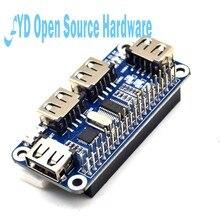 1 pces 4 portas usb placa de expansão hub para framboesa zero/zero com 3b +