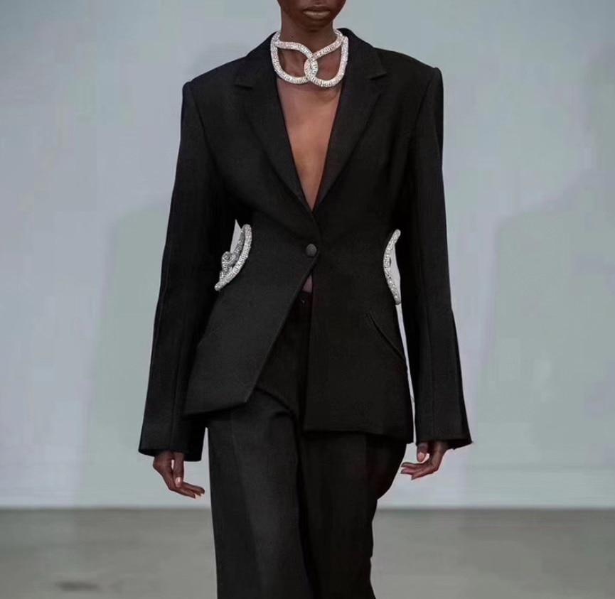 Hollow Victoria Gothic Fashion Punk Catwalk Slim-fit Little West Coat Autumn Casual Streetwear Blazer Suits Female Blazer