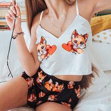 JULY'S SONG-Pijama Sexy para mujer, pantalones cortos con tirantes y cuello de pico, ropa de dormir con estampado informal para el hogar, novedad de verano 2020
