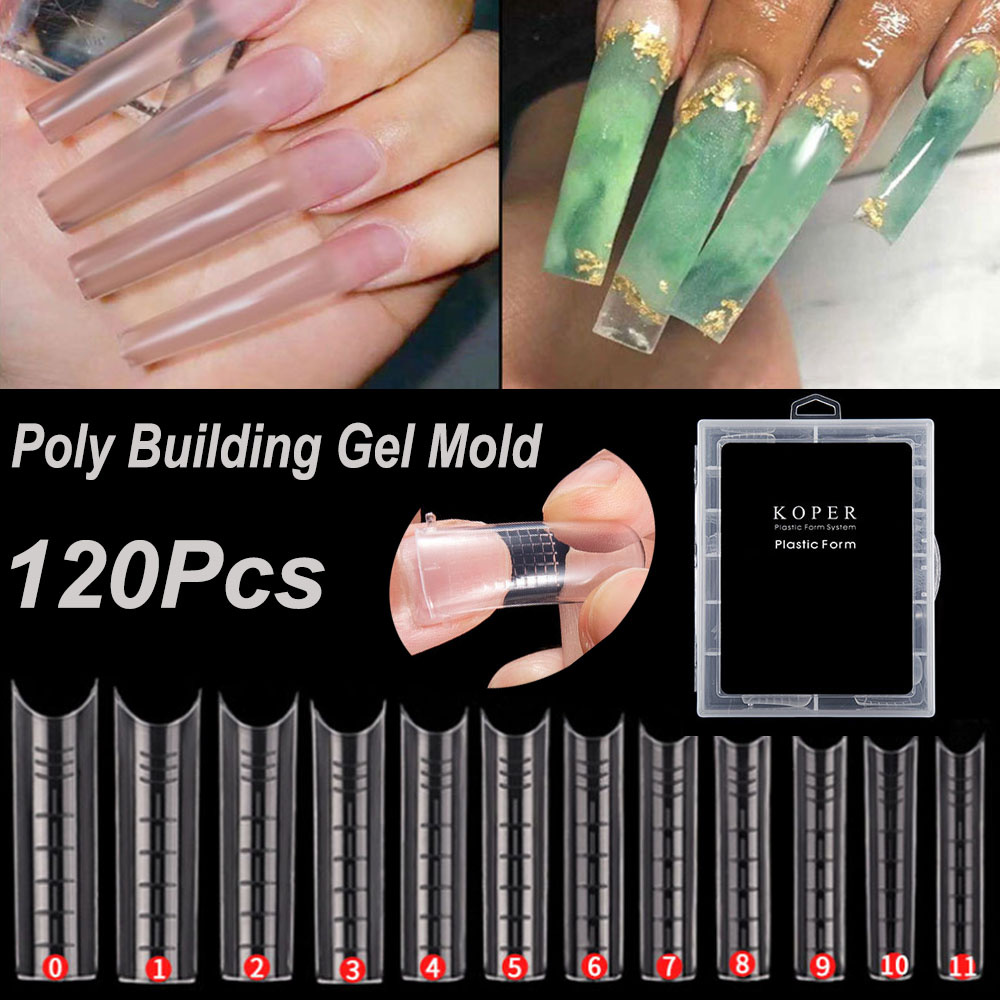 120 Pcs Extra Long Nail Mold Tips for Poly Nail Gel Quick Building Designs Nail Dual Forms Finger Extension Nail Art UV Builder