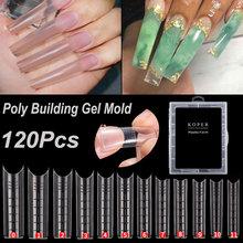 120 Pcs Extra Long Nail Mold Tips for Poly Nail Gel Quick Building Designs Nail Dual Forms Finger Extension Nail Art UV Builder