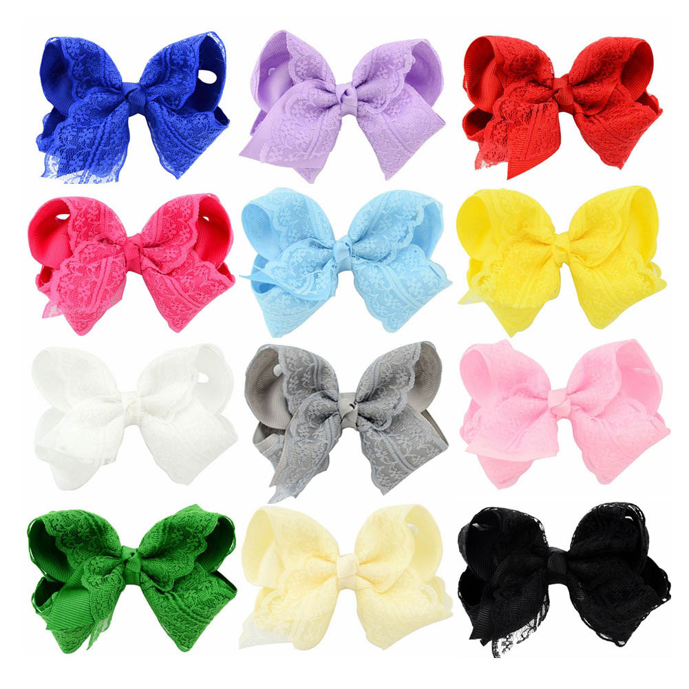 1PC Lace Bow HairPins Hair Bows Clips For Younger Girls Boutique Hairclips Handmade Bowknot Princess Headwear  Hair Accessories