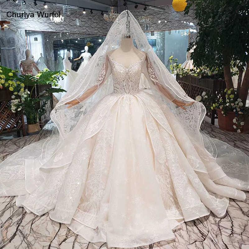 HTL294 ארוך שרוול שמלת כלה עם רעלה טול o-צוואר בעבודת יד כלה שמלת חתונת שמלה עם רכבת vestido דה noiva