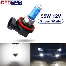 1PCS 12V 55W H8 הלוגן הנורה H9 H11 Led פנס סופר לבן 6000K אוטומטי מנורת רכב פנס אור מקור חניה