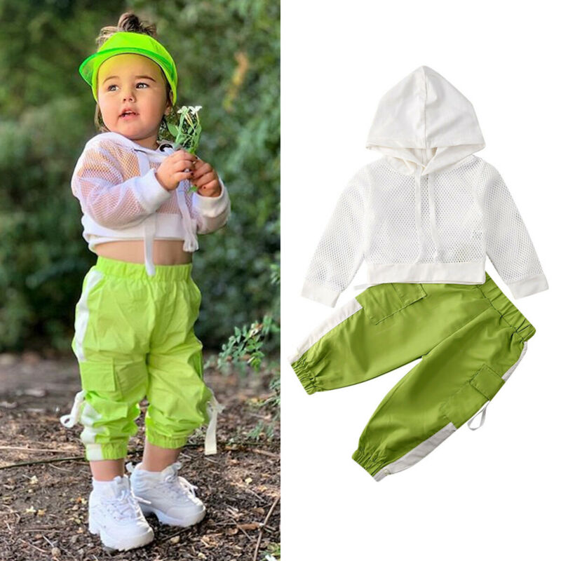 CANIS Spring Autumn Toddler Kids Baby Girls Long Sleeve Hooded Tops Net T-shirt Long Pants Outfits Set Tracksuit