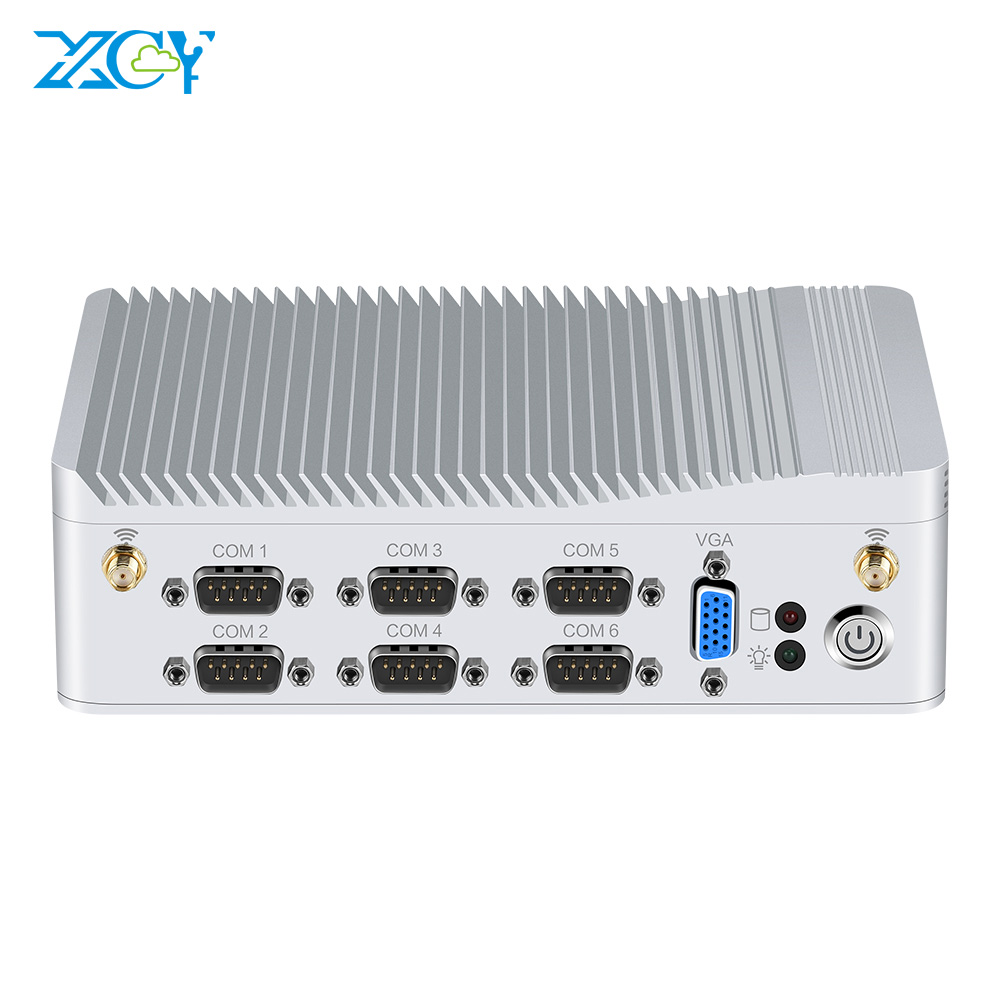 XCY Intel Celeron J1900 Fanless Mini Pc 6xRS232 8xUSB 2xLAN HD VGA WiFi 3G/4G LTE Micro Industrial PC Wins10 Linux Mini Desktop