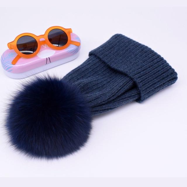 New winter hat luxury quality Fox fur pompom hats beanie for women 2