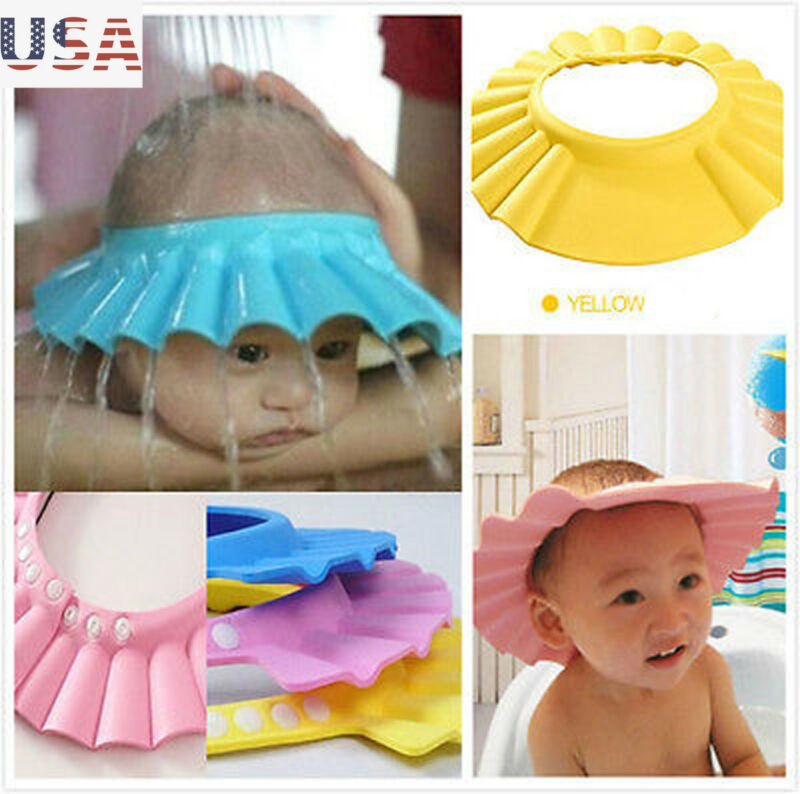Adjustable Baby Kids Shampoo Bath Bathing Shower Cap Hat Wash Hair Shield Cute Hot Solid Color Baby Accessories Shampoo Cap