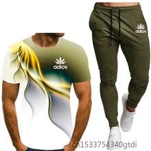 T-Shirt 2-Piece-Combination Sports-Pants Casual Suit 3d-Printing Leisure Men's Summer