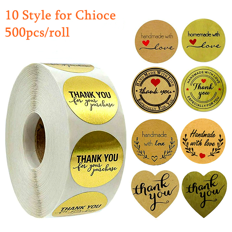 9 Style Kraft Round Thank You Stickers Seal Labels Gold Cute Stickers Scrapbooking For Package Stationery Sticker 500pcs Roll