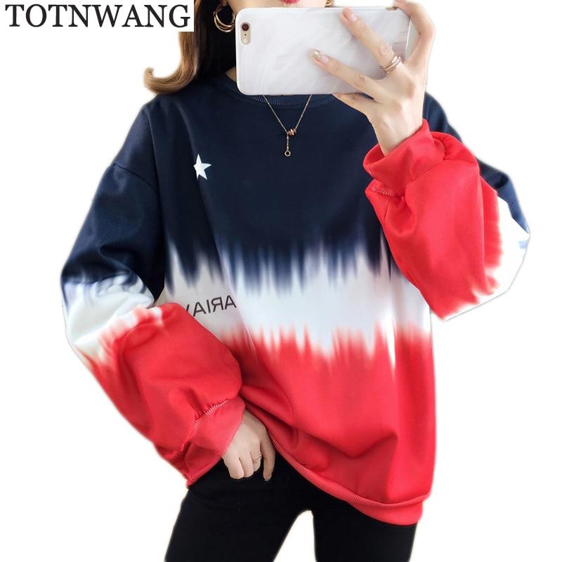 Fashion Rainbow Gradient Hoodie Winter Velvet Sweatshirt Women Kawaii Loose Casual Thick Tracksuit Moletom Feminino 2019