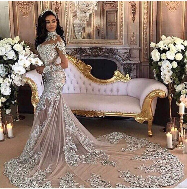Silver 2019 Muslim   Evening     Dresses   Mermaid High Collar Long Sleeves Tulle Lace Crystals Dubai Saudi Arabic Long   Evening   Gown