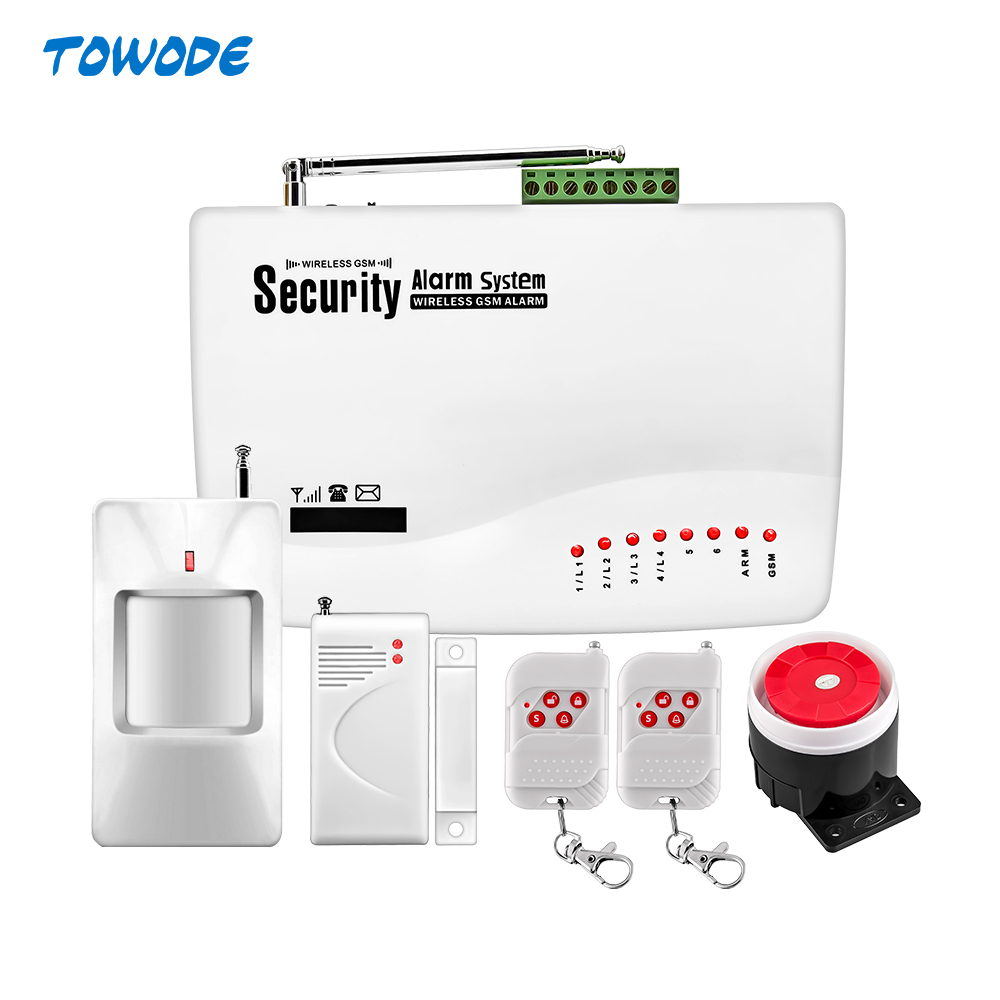TOWODE Wireless 10A GSM APP Control GSM Alarm System Dual Antenna Alarm Systems with PIR detector Spanish/Russian/English(China)