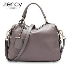 Zency moda kadın büyük el çantası çantası 100% hakiki deri çantalar kadın Boston Charm Messenger Crossbody çanta lüks omuz çantaları