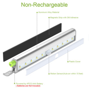 Image 3 - PIR Under Cabinet Light USB Rechargeable Motion Sensor Closet Lights Wireless Magnetic Stick on Cordless 10 LED Night Light Bar