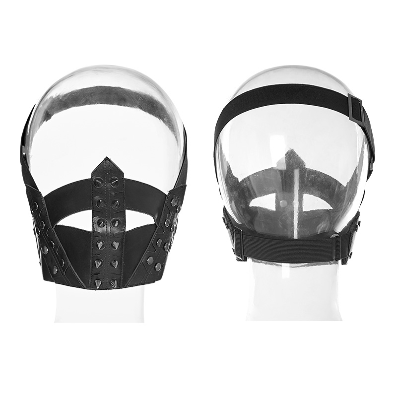 PUNK RAVE Men's Punk Masks Pu Leather Rivet Stage Performance Men Streetwear Accessories
