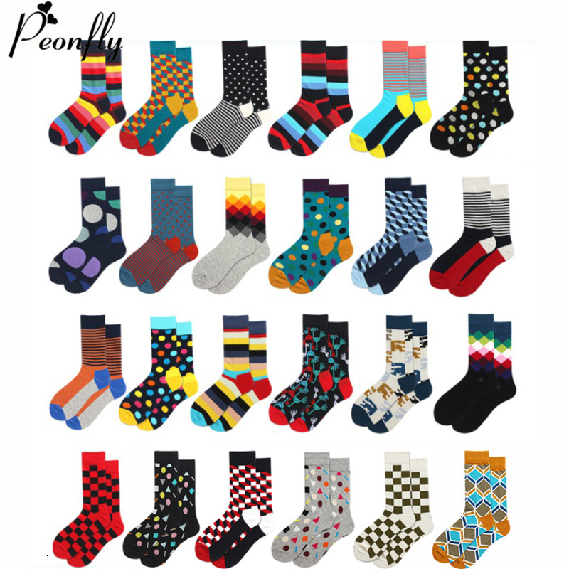 PEONFLY Classic Colorful Geometry Printed Socks Men Vintage Plaid Striped Combed Cotton For Business Harajuku Calcetines Hombre