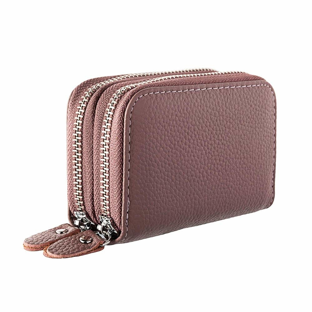 Womens Wallets Purses Multifunctional Female Design Women's Genuine Leather RFID Secure Zipper Credit Card Holder