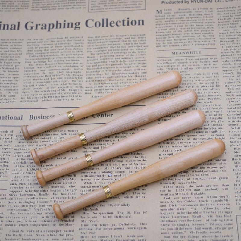 (12 Pieces/Lot) Wood Pen Wholesale Baseball Shape Wooden Ballpoint Pens Promotional Writing Tools Joy Corner