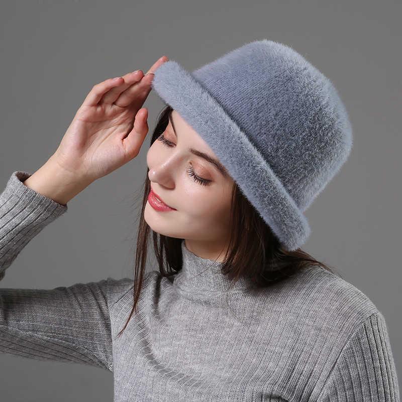 [Rancyword] Wol Elegan Wanita Topi Dome Pendek Brim Topi Wanita Retro Inggris Musim Gugur Musim Dingin Basin Topi Faux Beludru topi RC2070
