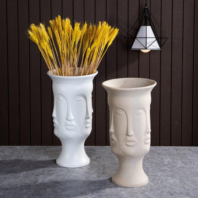 Nordic Ceramic Art Vase Sculpture Crafts Human Face Family Flower Pot Handmade Garden Storage Flower Arrangement Home Decors 4