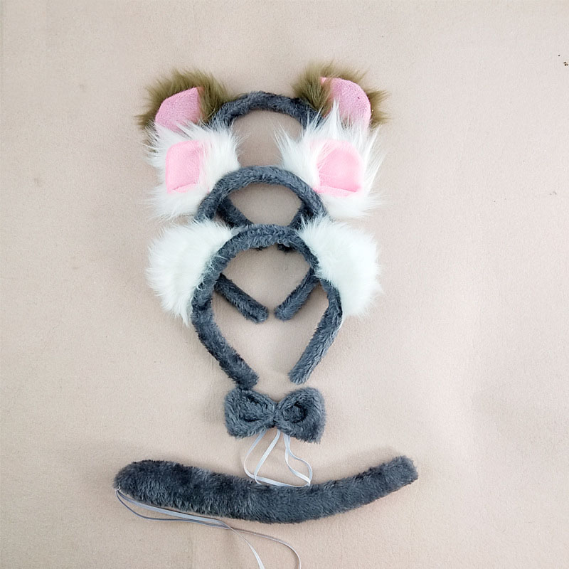 Costumes Accessory For Girls Cute Party Fancy Dress Koala Bear Cosplay Ear Headband Bow Tie Tail Masquerade Supplies