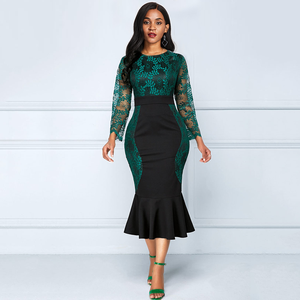 Women 2019 Green Elegant Mermaid Dress Long Sleeve Lace Maxi Dresses Plus Size High Waist Patchwork Cocktail Dress