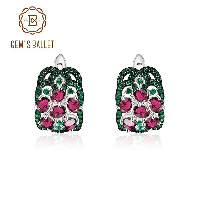 GEM'S BALLET 3.0Ct naturel Rhodolite grenat boucles d'oreilles en argent Sterling 925 boucles d'oreilles pour les femmes de mariage de beaux bijoux