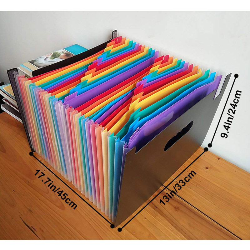 13/24 Pockets Expanding File Folder Works Accordion Office A4 Document Organizer JHP-Best