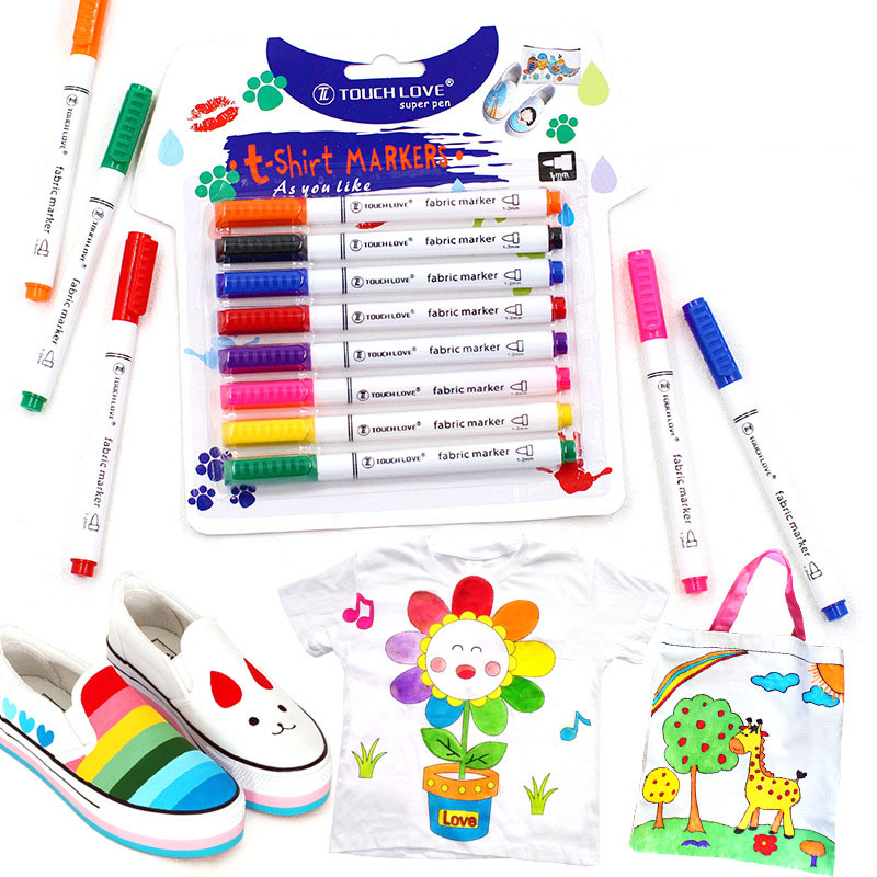8 Pcs/Set Clothes Textile Marker Fabric Paint Pen DIY Crafts T-shirt Pigment Painting Pen School Home Stationery Graffiti Supply
