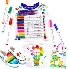 8 Pçs/set Roupas T-shirt de Tecido Têxtil Marcador Caneta de Tinta DIY Artesanato Pintura Pigmento Caneta Escola Papelaria Casa Fornecimento de Graffiti