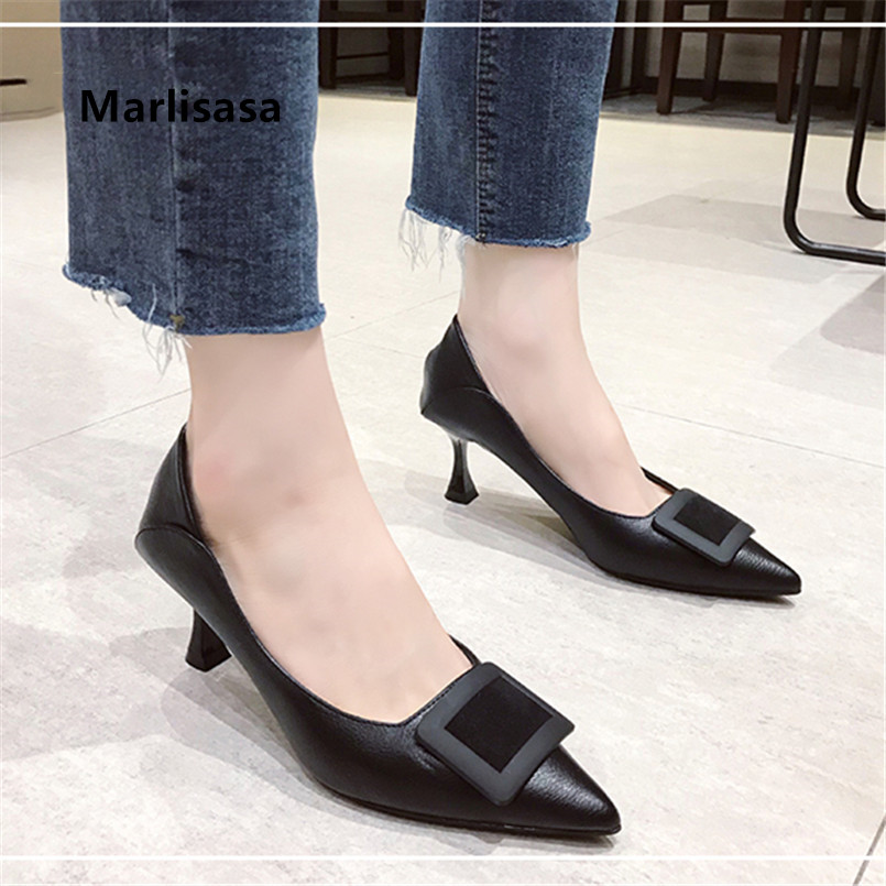 Marlisasa Ladies Fashion Sweet Classic Black Pointed Toe High Heel Shoes Women Casual Wine Red Stiletto Zapato Negro Tacon H9020