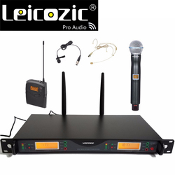 Leicozic U24D Professional Microphone Wireless System for Stage Church Studio Recording 200 Channel 1 handheld mic & 1 bodypack