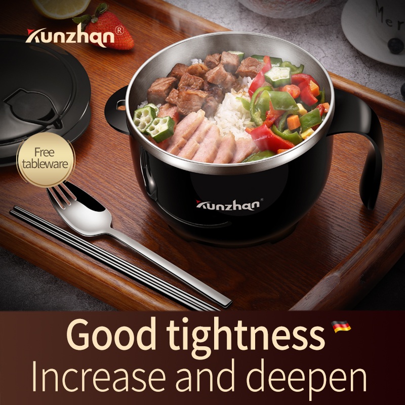 Kunzhan Lunch Box Stainless Steel Bowl for Instant Noodles Ramen Soup Bowl with Lid Household Food Container with tableware