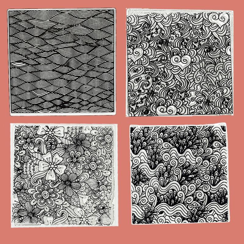 Folhas de carimbo de textura de argila de polímero ferramentas kits diy emboss nuvem flor fluxo de água mandala padrão design individual 9x9cm